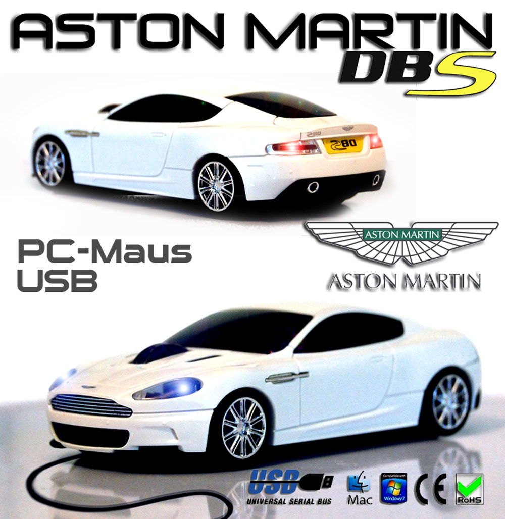usb maus aston martin dbs pc laptop maus weiss led beleuchtung 12clmamwwh. Black Bedroom Furniture Sets. Home Design Ideas