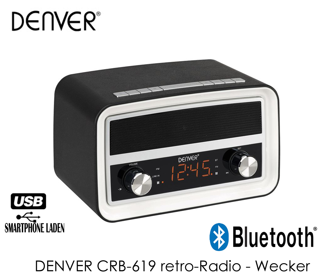 denver crb 619 retro radio wecker mit bluetoothund usb. Black Bedroom Furniture Sets. Home Design Ideas